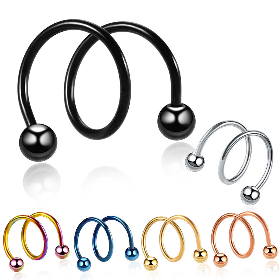 2 pz/lotto Gauge Sfera In Acciaio Anodizzato S Doppia Spirale Twister Barbell Dell'orecchino Dell'orecchio della Cartilagine Helix Lip Anelli Trago il Piercing 16G