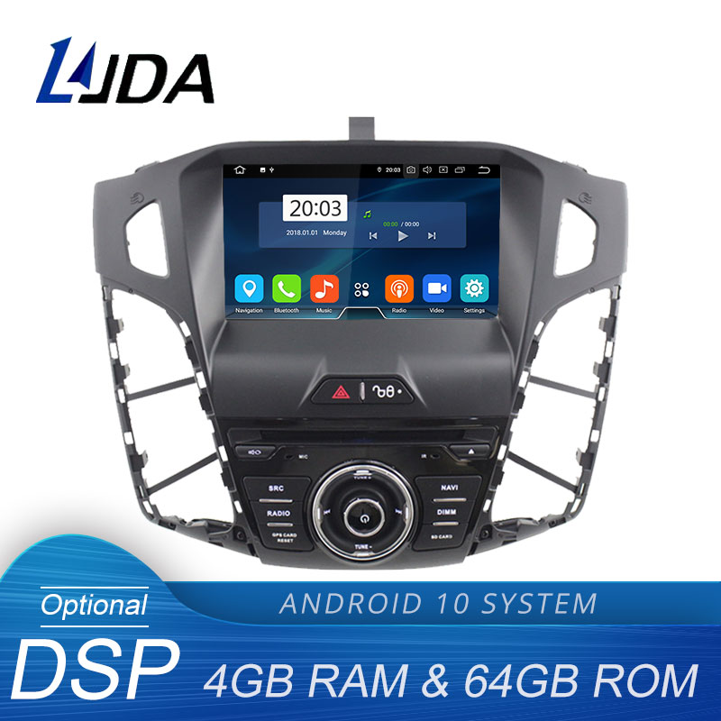 LJDA Android 10.0 Car DVD Player For <font><b>Ford</b></font> <font><b>Focus</b></font> 2012 <font><b>2013</b></font> 2014 Multimedia GPS <font><b>Navigation</b></font> Stereo 1 Din Car Radio DSP 4G+64G WIFI image