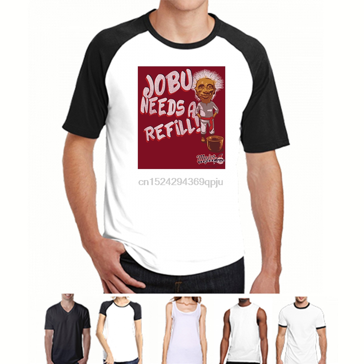 Licensed Adult T-Shirt All Sizes Major League Movie JOBU NEEDS A REFILL
