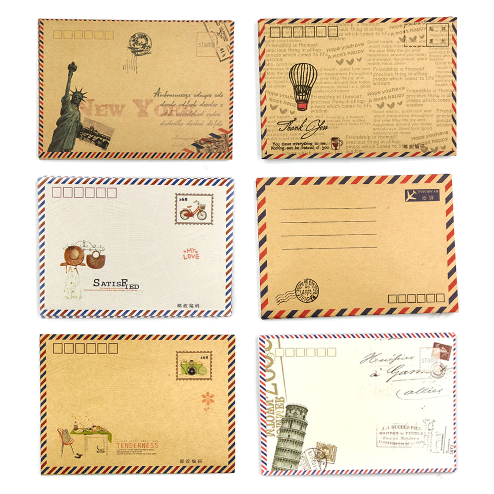 Vintage B6 Envelope Western Style Mailing Envelopes For Invitation Creative Kraft Envelope 8pcs/set