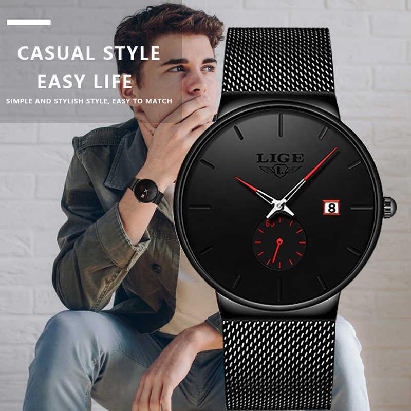 LIGE Mens saatler en lüks marka erkekler moda İş İzle Casual Analog kuvars kol saati su geçirmez saat Relogio Masculino