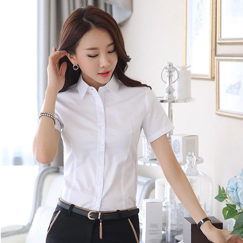 Korean White Shirt Blouse Women Shirts Blouses Women Short Sleeve Work Shirts Tops Plus Size Office Lady Elastic Pink Shirt 5XL