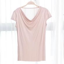 Camiseta de seda viscosa mezclada para mujer, blusa holgada corta de seda Natural, camisa elegante de talla grande para mujer, envío gratuito