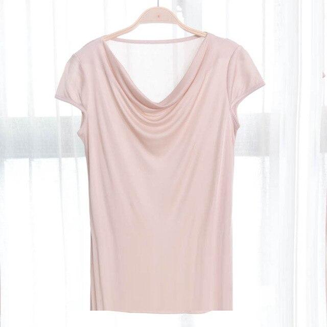 비스코스 실크 혼합 탑 t 셔츠 여성 천연 실크 고품질 우아한 플러스 사이즈 짧은 루스 셔츠 여름 레이디 무료 배송