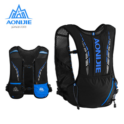 AONIJIE C9102 negro Ultra chaleco 5L hidratación mochila paquete bolsa suave vejiga de agua matraz senderismo correr Maratón