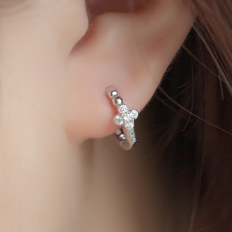 Fashion Simple Silver Plated Hoop Earrings White Zircon Crystal Cross Earrings AAA Cubic Zirconia Wedding Engagement Jewelry