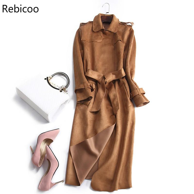 New Autumn Suede Trench Coat Women Abrigo Mujer Long Elegant Outwear Female Overcoat Slim Red Suede Cardigan Trench