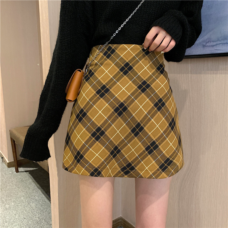 Photo Shoot 2019 Autumn And Winter New Style WOMEN'S Dress Korean-style Ultra-Fire Red Slim Fit Slimming A- Line Sheath Plaid Sk