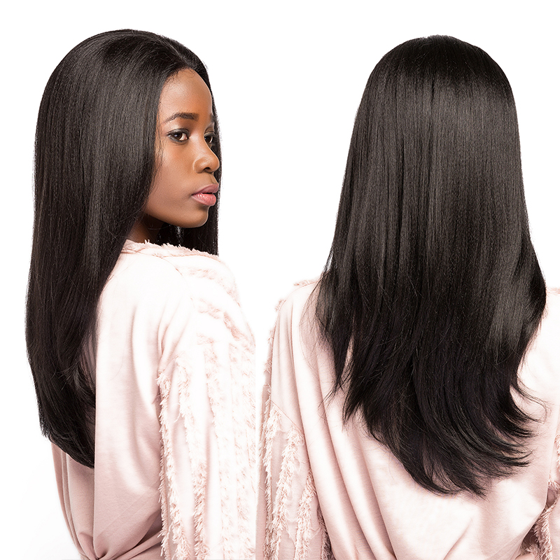 SOKU Synthetic Lace Front Wigs With Baby Hair Heat Resistant Glueless Free Part Ombre Brown Black Straight Wigs For Black Women