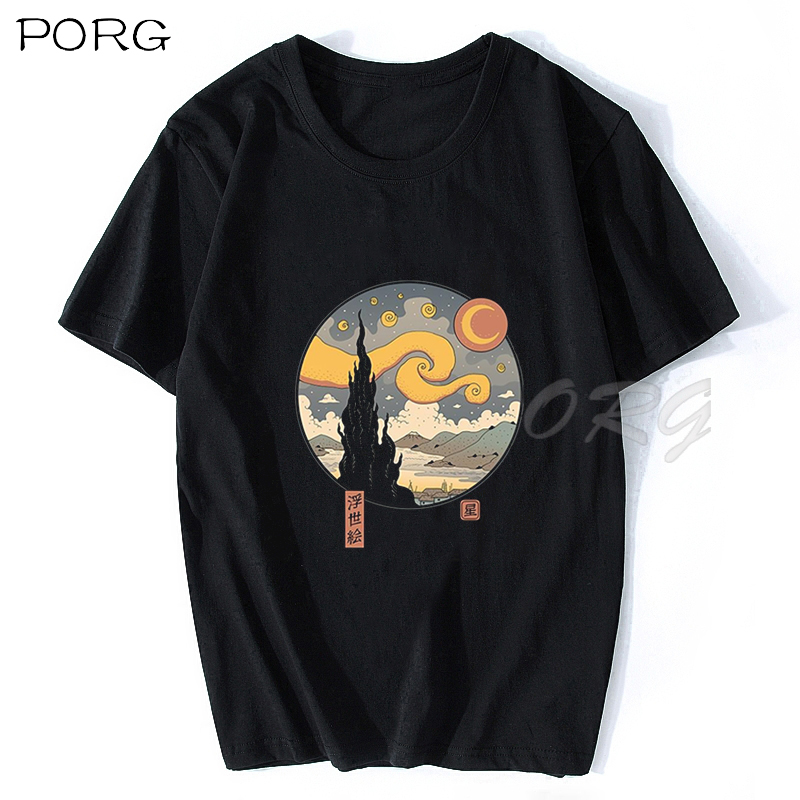 STARRY UKIYO-E NIGHT Several Styles T-shirt Graphic Men Tshirt Streetwear Harajuku Shirt Dropshipping Cotton100% Mens Clothing