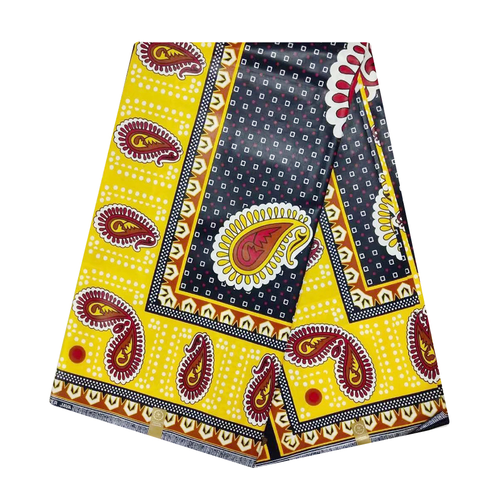 Yellow Ghana African JAVA Tissus Wax Pange 100% Cotton Cheap Ankara Fabric African Real Wax Print 6 Yards 2019 High Quality