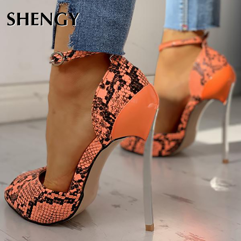 2020 Women Summer High Heel Shoes 13cm Fashion Snake Thin Heel Ladies Leather Shoes Business Party Poop Toe Pumps Shoes