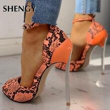 2020 Women Summer High Heel Shoes 13cm Fashion Snake Thin