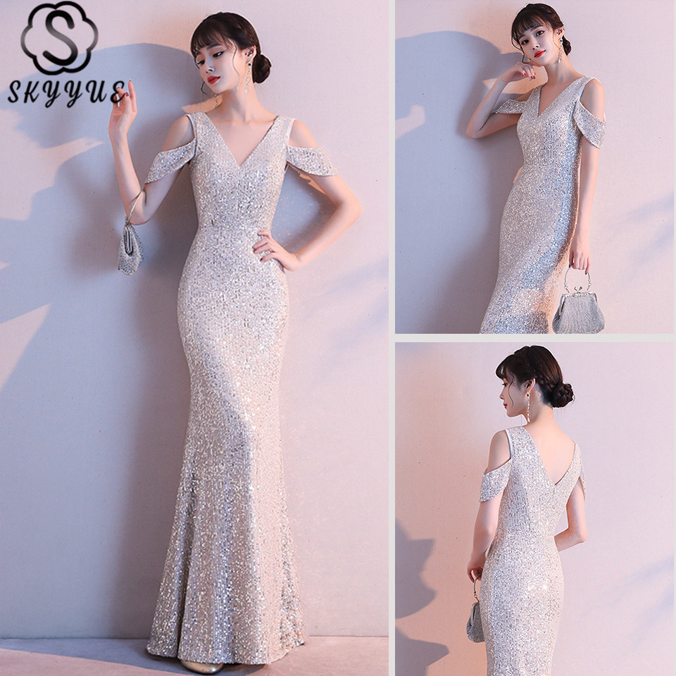 Skyyue Evening Dress V-Neck Tank Short Sleeve Plus Size Robe De Soiree K118 Floor-Length Sequined Mermaid Dress Woman Party