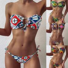 2021 feminino sexy estilo boêmio sem alças geométrica impressão bandeau gravata lado maiô confortável respirável beachwear bañador muje