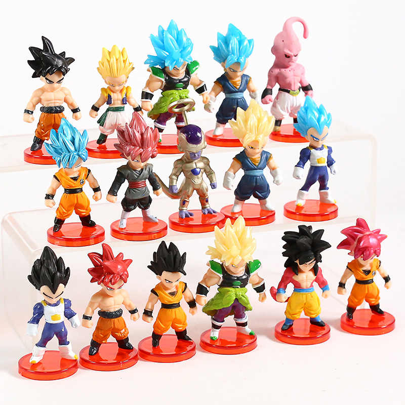 Freeza Dragon Ball Z Son Goku Vegeta Vegetto SUPER Azul Majin Buu Gotenks PVC Figuras Brinquedos Broly 16 pçs/set