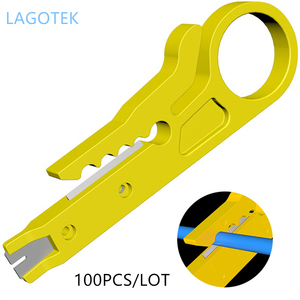 Image 1 - 100 pçs/lote mini portátil fio stripper faca crimper alicate ferramenta de friso cabo descascamento fio cortador multi ferramentas corte linha
