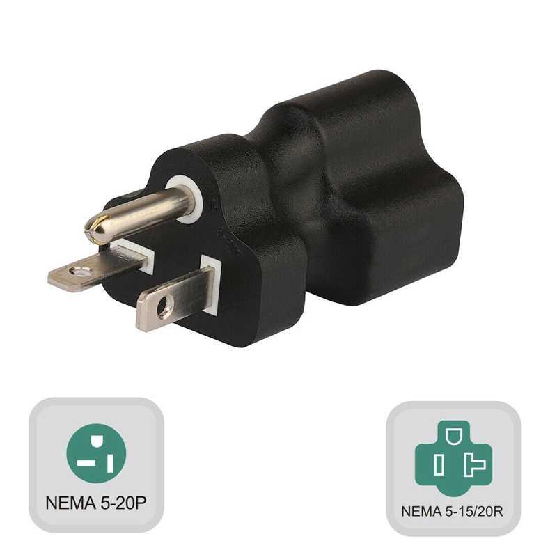 Pa-0202 Nema 5-20P męski na 5-15R/20R Adapter żeński, 20 A do 15A t-blade Adapter konwerter wtyczka amerykańska