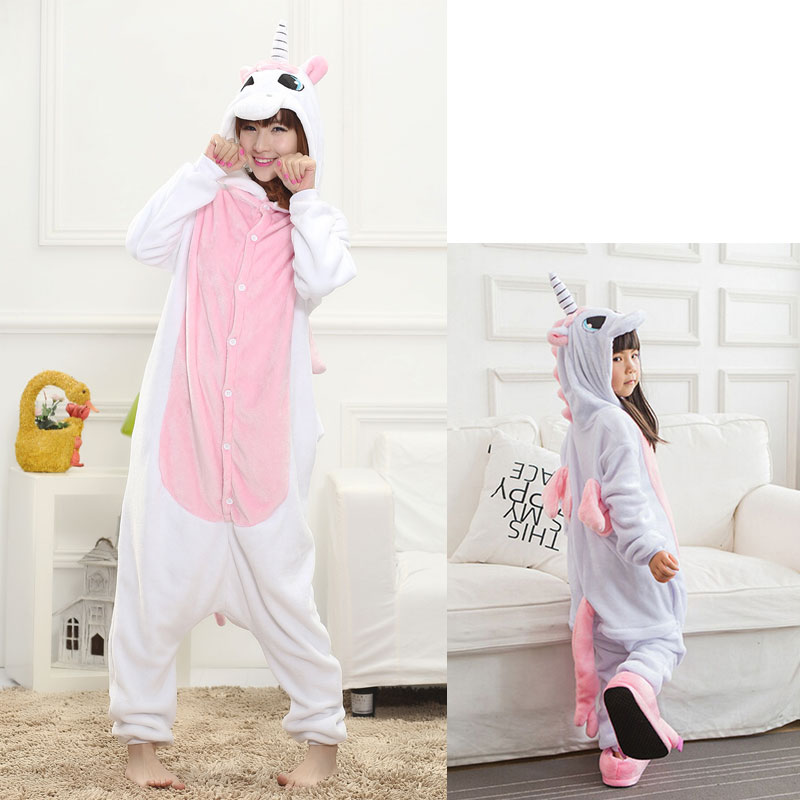 Pink White Unicorn Onesie Women Girl Animal Kigurumi Flannel Sleep Jumpsuit Cute Funny Overalls Winter Warm Suit Adult Child