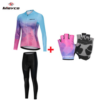 Pro Team Cycling Clothing Women Long Sleeve Bicycle Jersey Set Sport MTB Wear Quick Dry Road Bike Clothes Female Riding Suit blue cycling women set long sleeve women bike clothing winter ropa ciclismo cycling jerseys suit pink bicycle riding clothes