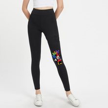 Women Mickey Minnie Black Solid Skinny Leggings Pants Bottoms 2019 Autumn Elastic Waist Active Wear Ladies Skinny Trousers Pants