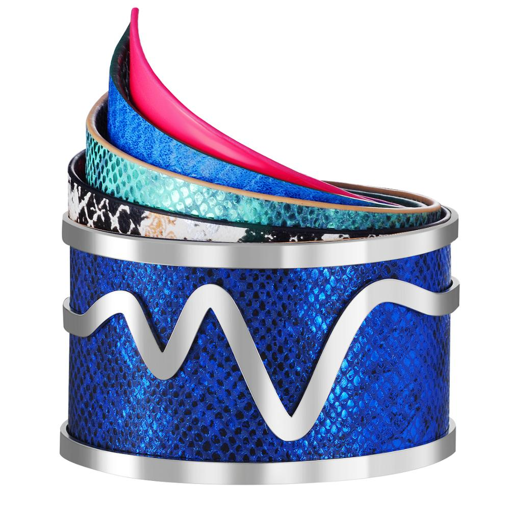 Interchangeable Magnet Button Cuff Bangle PU Leather Bracelet Georgettes Indian Jewelry Pulseiras Love Bangles for Women Femme
