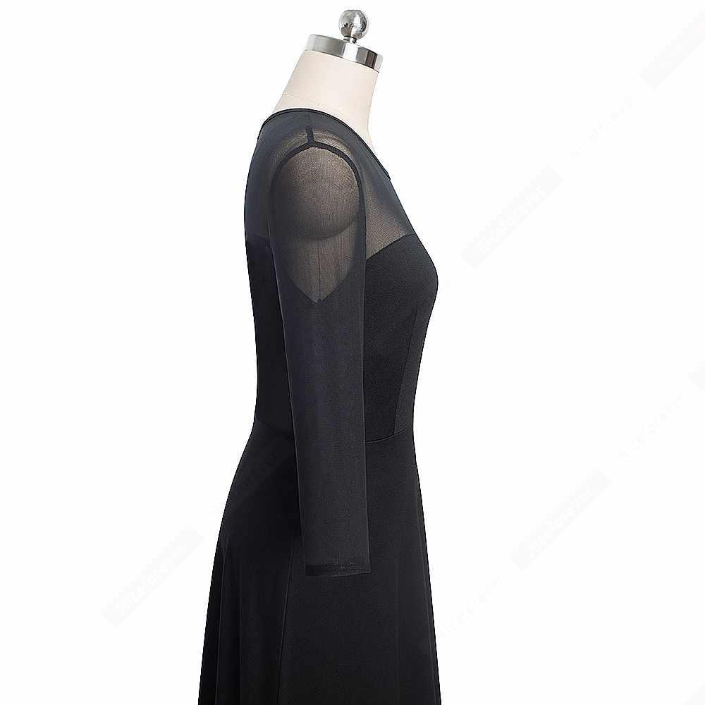 Осеннее сексуальное просвечивающее короткое черное элегантное платье винтажное лоскутное свободное ТРАПЕЦИЕВИДНОЕ ПЛАТЬЕ HA170