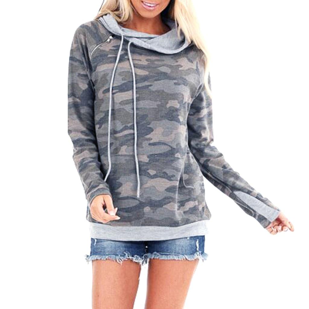 Womens Long Sleeve Hooded Sweatshirt Camouflage Printed Elegant Pullover Sweatshirt Jumper Top Casual Long Sleeve Ladies Hoodies