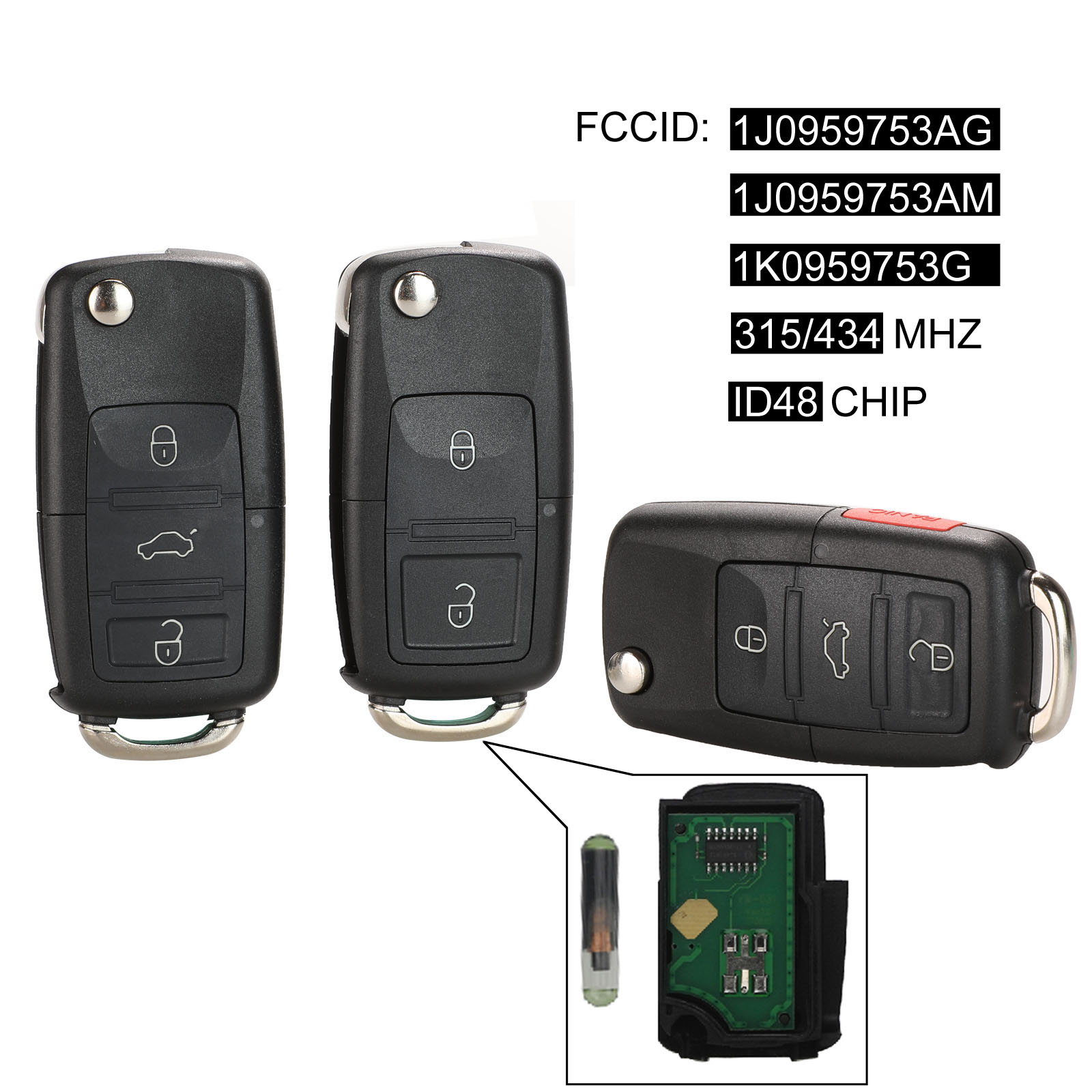 Porte-clés à télécommande kutère 2/3/4 boutons 434MHz ID48 puce pour VW Beetle Bora Golf Passat Polo Transporter T5 1J0 959 753 AG