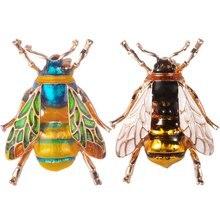Insect bumble abelha broche para mulheres crianças meninas abelha jóias ouro cor verde esmalte broches pino jóias bumble abelha emblemas presentes
