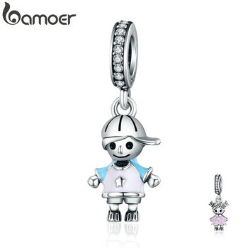 bamoer New 100% 925 Sterling Silver Couple Little Girl & Boy Pendant Charm fit Girls Charm Bracelet DIY Jewelry SCC544 bamoer valentine day gift 925 sterling silver cheers for love couple beer pendant charm fit charm bracelet diy jewelry scc478