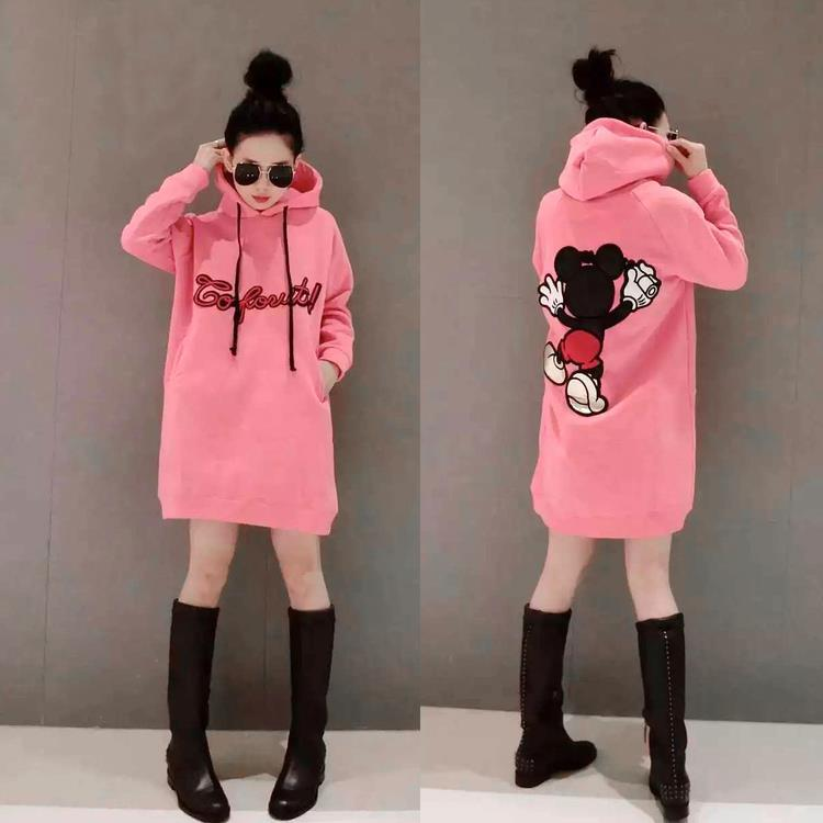 Korean 2016 Autumn And Winter New Style Fashion Large Size Brushed And Thick Pullover Hoody Skirt Hooded Mid-length Hoodie Women