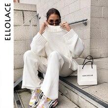 Ellolace Turtleneck Pollover Sweater Womens Jumpers White Long Sleeve Oversize Knitted Pull for Women Autumn Winter New Crochet