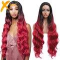 Длинный парик из синтетического кружева красного цвета для черных женщин средняя часть 34