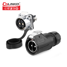Cnlinko Quickly Push Pull 2 Pin Connection Socket Plug IP67 Waterproof Round Outdoor Cable AC DC 50A 500V Power Connectors CE UL