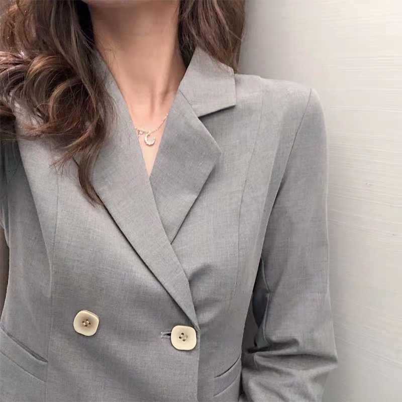 BGTEEVE zarif kruvaze kadın Blazers uzun kollu bahar kadın takım elbise ceketler ofis bayanlar pilili takım elbise Blazer 2020