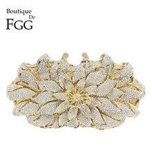 Boutique De FGG olśniewający kryształ kobiety wieczór metalowe saszetki torba Hardcase kwiat na wesele torebka ślubna torebka z uchwytem