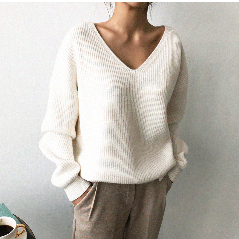 Yocalor 2019 Fashion Warm Winter Sweater Solid Color Women V Neck Black White Sweater Irregular Knitted Tops Sweter
