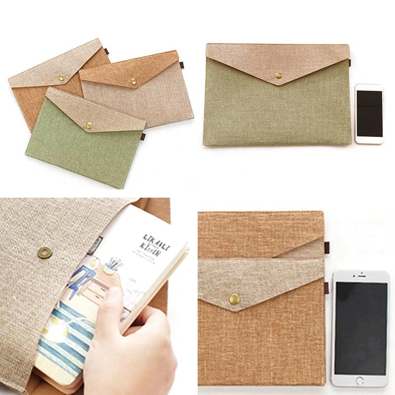 2 Sizes Simple Elegant Imitation Linen Canvas Felt File Bag Portfolio Office Study Bag Stationery Folder