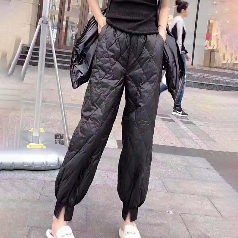 Women Pant Lightweight Down Trousers Winter 2020 Spring Fashion Female Diamond Pattern Feet Straight Wild Casual Ladies Pants