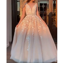 V-Neck Lace Appliques Formal Evening Dress Long 2019 Robe De Soiree A-line Party Gowns Vintage Prom Dresses Vestido OL103201 robe de soiree new plunging v neck appliques evening dress champagne prom gowns pageant dresses vestido de noiva