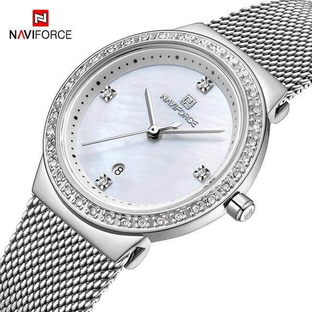 NAVIFORCE جديد إمرأة فاخر ماركة ساعة كوارتز سيدة موضة ساعات الفولاذ مقاوم للماء السيدات ساعة اليد Relogio Feminino