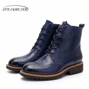 Image 5 - Yinzo حذاء من الجلد النساء جلد البقر الحقيقي جولة تو الدانتيل متابعة سيدة الموضة أحذية منخفضة الكعب الشتاء الأحذية اليدوية 2020