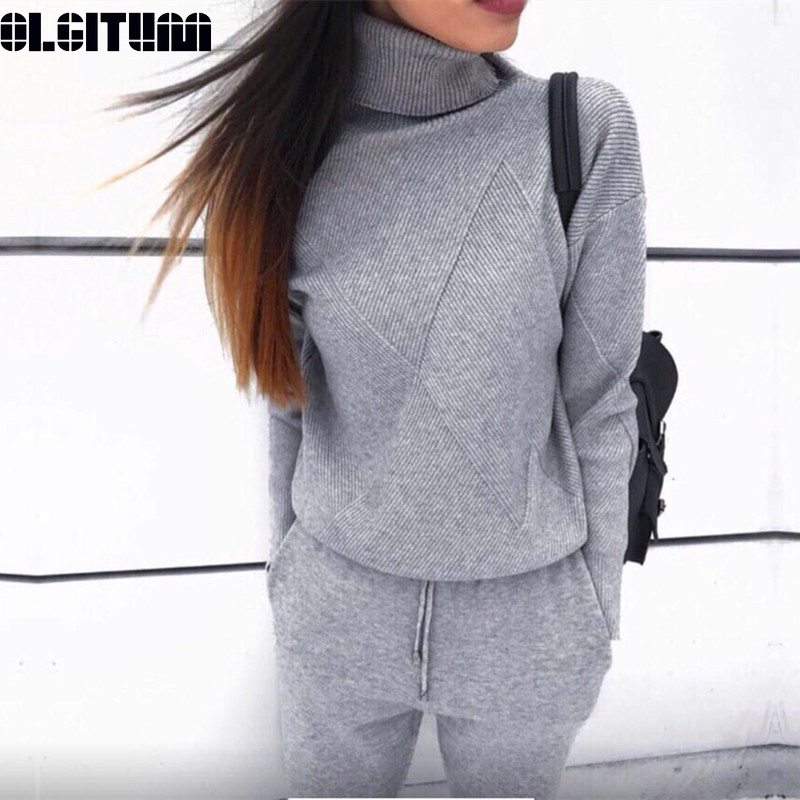 New Fashion Women Knitted Tracksuit Turtleneck Sweatshirts For Autumn And Winter Casual Warm 2 Piece Set Knit Pant Sporting Suit