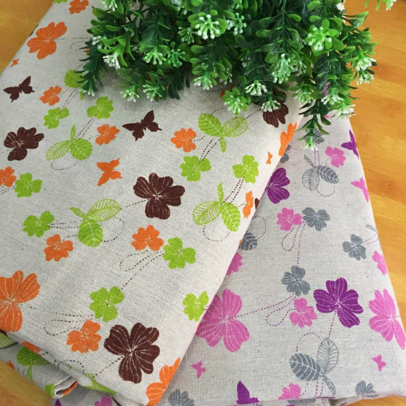 Flower Printed Linen Cotton Fabric Pure Beige Canvas Cloth DIY Sewing Tablecloth Textile Decoration Material