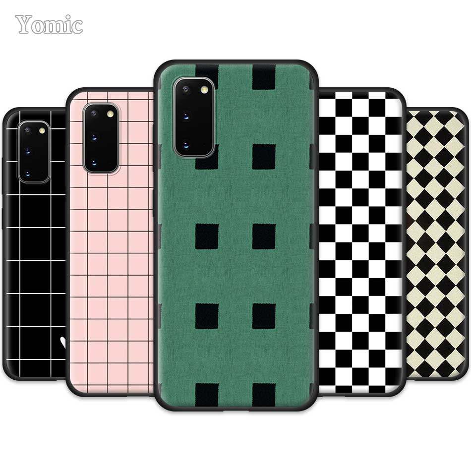 Black and white chess <font><b>board</b></font> Case for Samsung Galaxy S20 Ultra 5G S10 Lite S10e S9 S8 <font><b>Note</b></font> <font><b>8</b></font> 9 10 Plus Black Soft Phone Cover Sac image