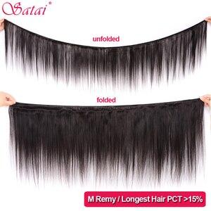 Image 2 - SATAI ตรงผมรวมกลุ่มปิด Peruvian Hair 3 รวมกลุ่มกับธรรมชาติสี Non Remy Hair Extension