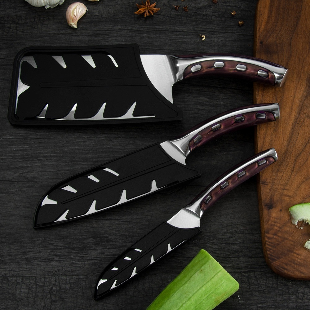 4Cr13 Chef Knife 7 inch Chinese Kitchen Knives Meat Fish Vegetables Slicing Knife Super Sharp Stainless Steel Kitchen Knife Set 3