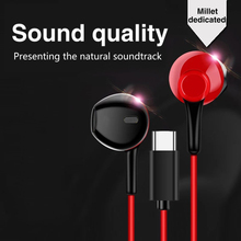 Type C USB Microphone Game Earbuds Dynamic Circle Earphone In-ear Bass Metal Noise Reduction Headset