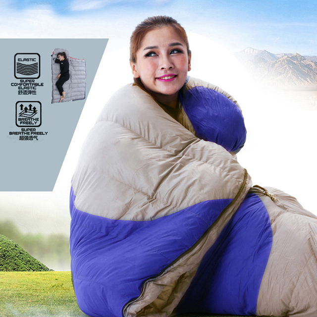 Duck down envelope outdoor camping travel adult sleeping bag filling 1800g use in autumn and winter have 3colors for choose 6
